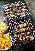 Prawn and chicken kebabs on the barbeque