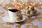 Chocolate nut truffles with coffee