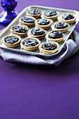Twelve chocolate tartlets on a tray