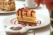 Piece of layer cake with fruit sauce