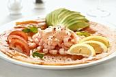 Shrimp cocktail on salmon carpaccio