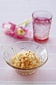 Lychee sorbet in glass dish