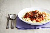 Linguine with meatballs and tomato & basil sauce