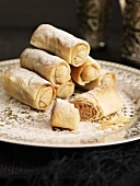Filo pastry rolls with almond filling