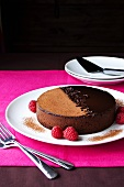 Chocolate cake with fresh raspberries