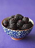 Blackberries in ceramic bowl