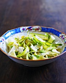 Ribbon pasta with courgette ribbons and Parmesan