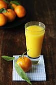 Glass of orange juice with fresh mandarin oranges
