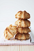 Several coconut macaroons, stacked