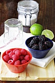 Fresh berries with sugar, limes and preserving jars