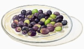 Assorted olives on glass plate (Illustration)