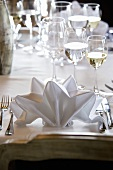 Folded fabric napkin on elegant table