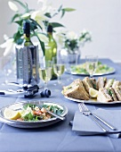 Sandwiches, salad and wine on party table in blue