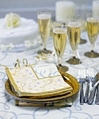 Place-setting for a champagne party