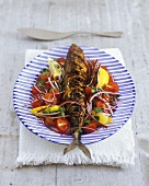 Grilled mackerel with vegetable salad