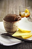 Chocolate soufflé with slices of cheese