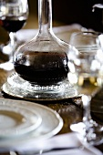 Decanter of wine on festive table