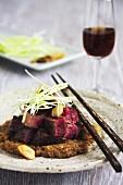Rib eye steak with peanut sauce