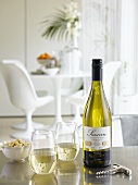 White Sancerre wine in bottle and glasses
