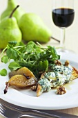 Blue cheese on toast with poached pears and watercress