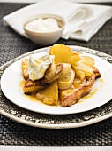 French toast with pineapple, banana and rum