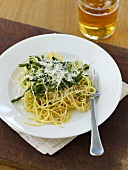Spaghetti with pea sprouts, Thai asparagus and Parmesan