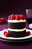Small chocolate cake with buttercream and raspberries