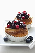 Danish pastries with cream filling and berries