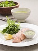 Salmon trout with herb sauce and salad leaves