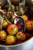 Cooked greengages with jam