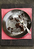 Scraps of chocolate cake on plate