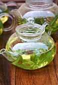 Verbena tea in glass teapot