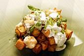Pytt i Panna (Swedish potato hash) with fish and dill mayonnaise