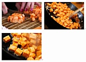 Dicing and frying sweet potato