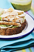 Chicken breast, Parmesan and lettuce on bread
