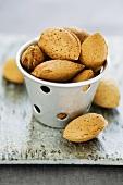 Almonds in zinc pot