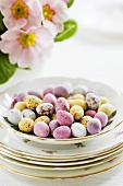 Pastel-coloured chocolate Easter eggs