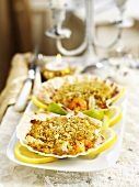 Seafood gratin in shells (Christmas)