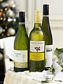 Bottles of different white wines with labels (Christmas)