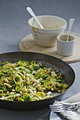 Leeks and cannellini beans with mustard sauce