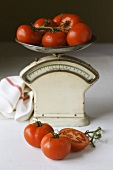 Tomatoes on old kitchen scales