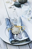 Maritime place-setting with striped napkin