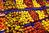Various different types of fruit at a market