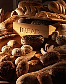 Various types of breads and rolls with a bread bin