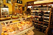 Inside a cheese and wine shop