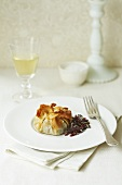 Filo pastry parcels with a beetroot salad