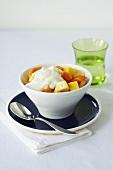 Exotic fruit salad with yogurt