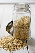 Wheat grains in a storage jar