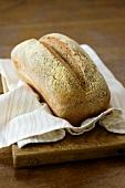 Freshly baked rye bread on a dish cloth