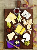 A Christmas cheese board, seen from above